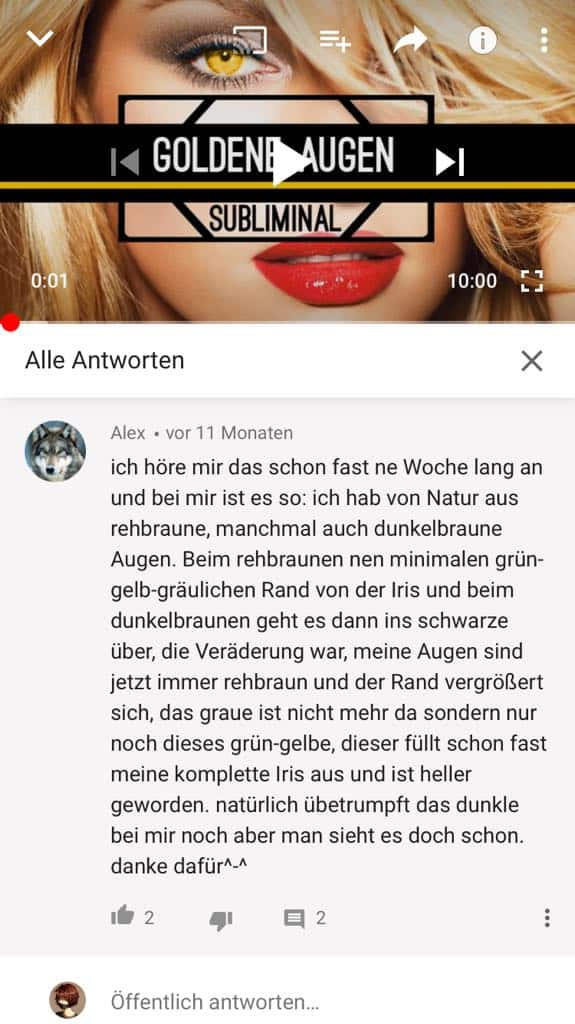 Goldene Augen Veränderung